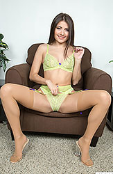 Adria Rae is Stunning in Sexy Lingerie and Nude Stockings